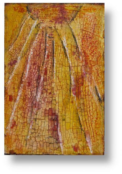 Sonnen aus dem Firmament - INTONACO auf Malpappe schwebend gehängt - Format 40cm x 60cm